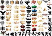 Fotografia grande set di corone e animali araldici