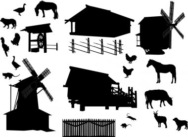 set of village buildings and animals isolated on white