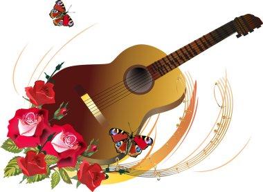 guitar in red rose flowers illustration