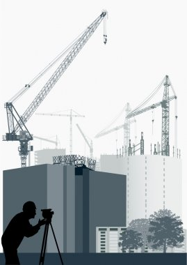 geodesist and house construction illustration