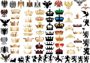 large set of crowns and heraldic animals