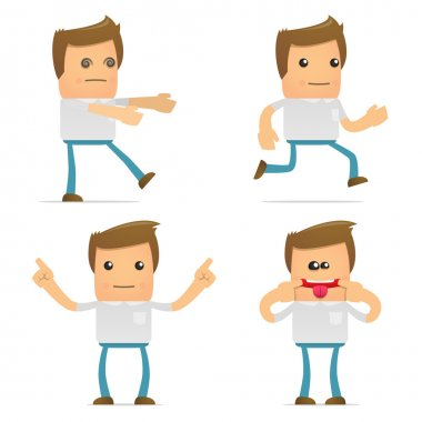 Set of funny cartoon casual man in various poses for use in presentations, etc. stock vector