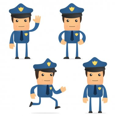 Set of funny cartoon policeman in various poses for use in presentations, etc. stock vector
