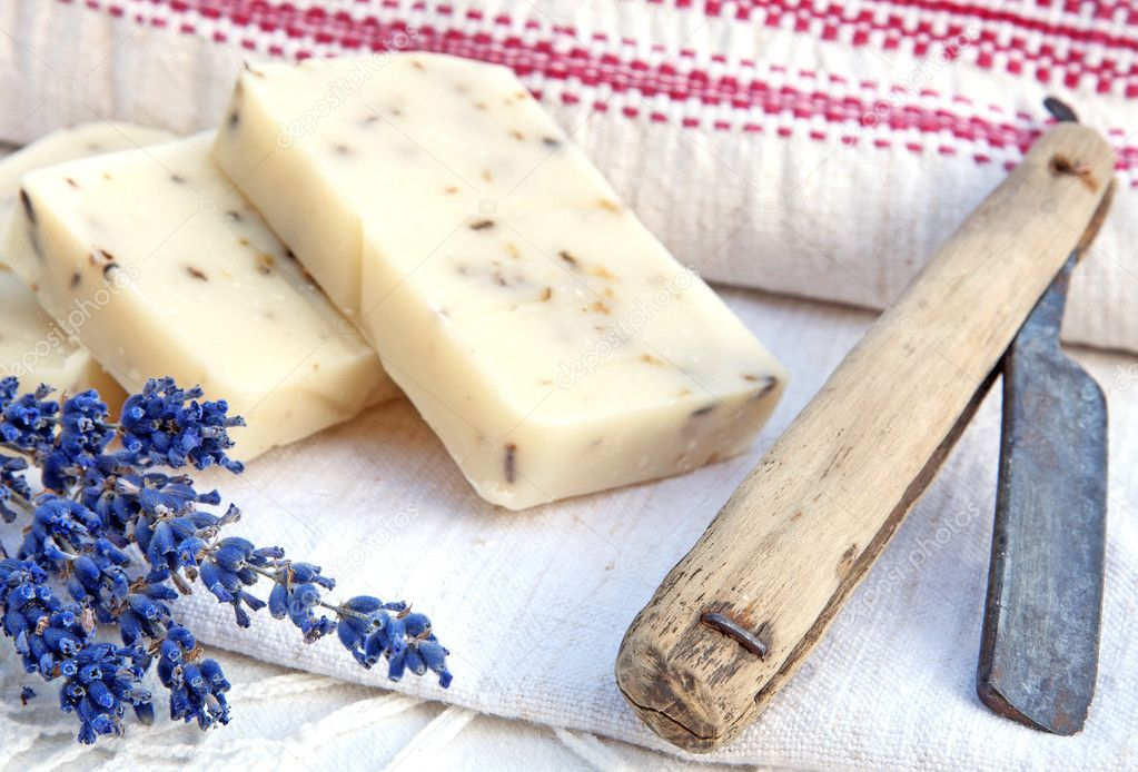 Home-made soap with lavender in retro style
