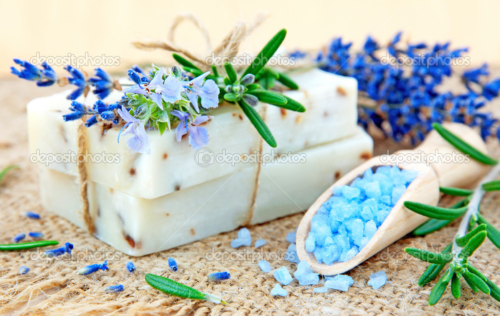 Natural soap, herbs and bath salt