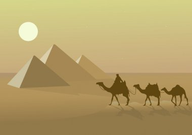 Vector illustration with Egypt's pyramids and camels