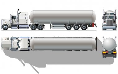 Vector hi-detailed tanker semi-truck