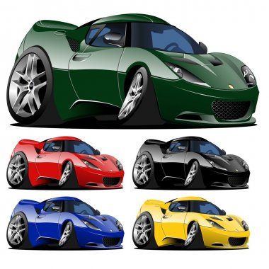 Vector cartoon car one click repaint