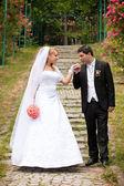 Fényképek menyasszony és a vőlegény az esküvő