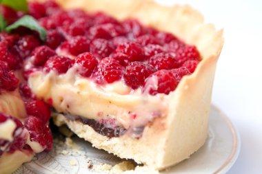 Tart with custard, chocolate and raspberry
