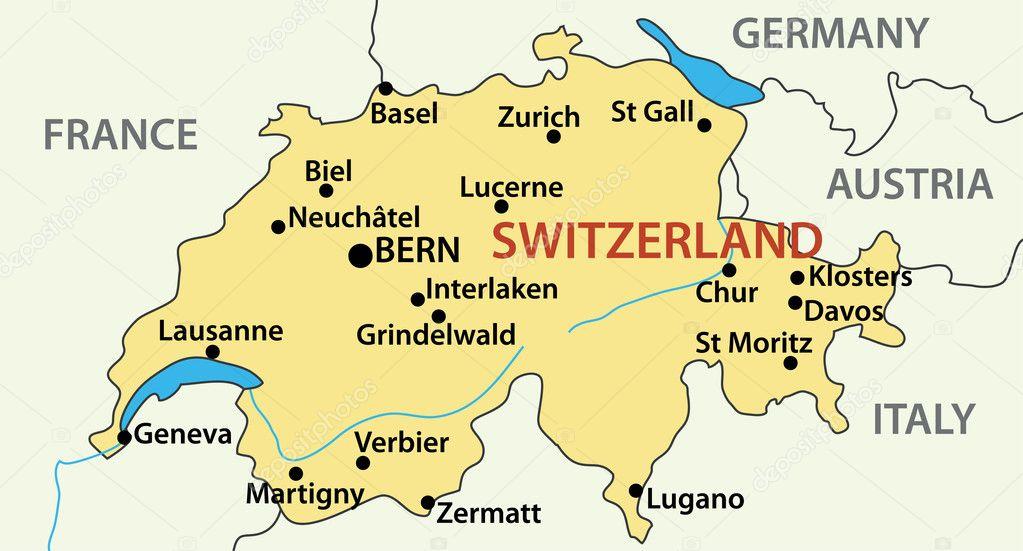 mapa de suica mapa da Suíça   ilustração vetorial — Vetor de Stock © pavalena  mapa de suica