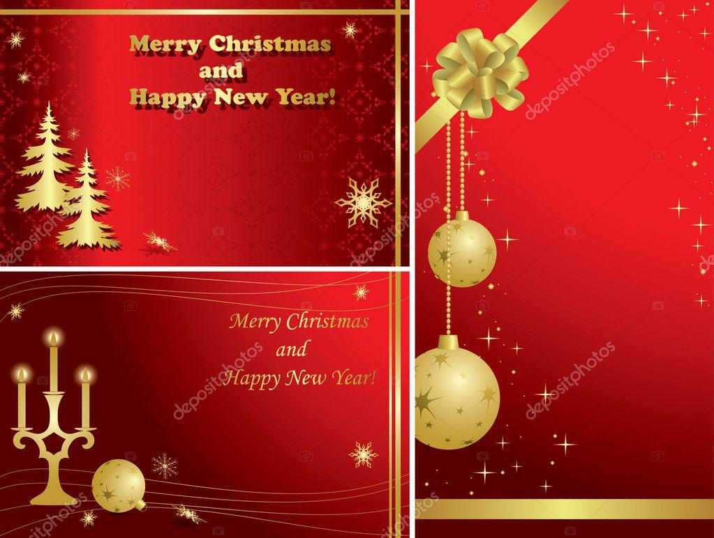 Satz der rote Vektor Weihnachten Frames mit gold Verzierungen ...