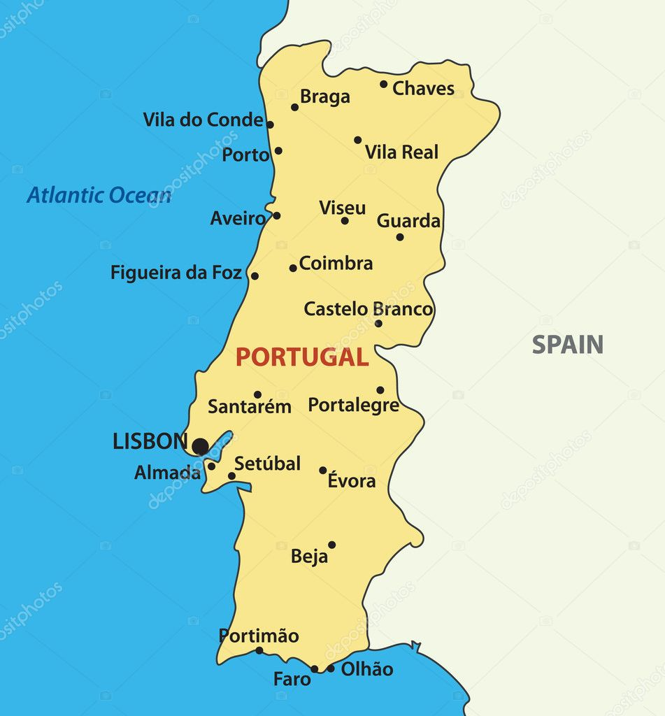 Vector map of the Portugal Stock Vector pavalena 7858712