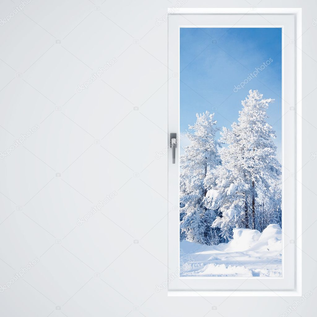 Light wall, window and winter landscape