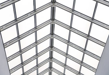 Glass roof with metal frames