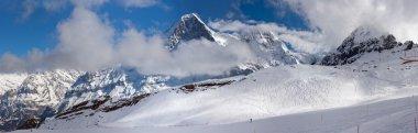 Eiger. Ski slope in the background of Mount Eiger.