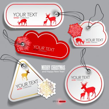 Set of winter bubbles, stickers, labels, tags. Vector illustrat