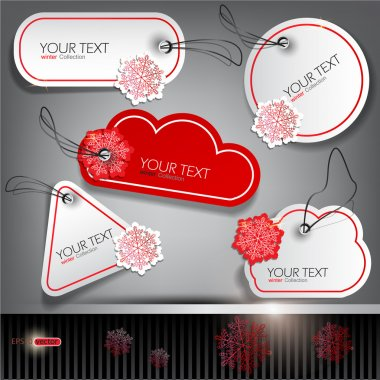 Set of winter bubbles, stickers, labels, tags. Vector illustrat
