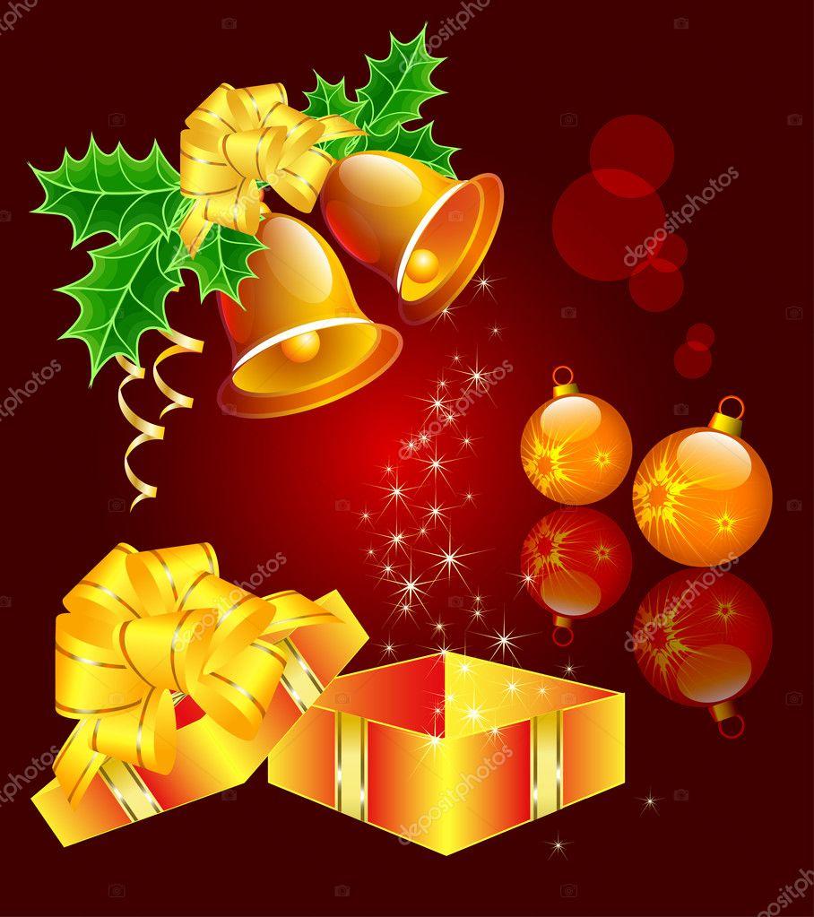 Weihnachten-Stillleben mit Hand-Glocken, Christbaumschmuck- und ein ...