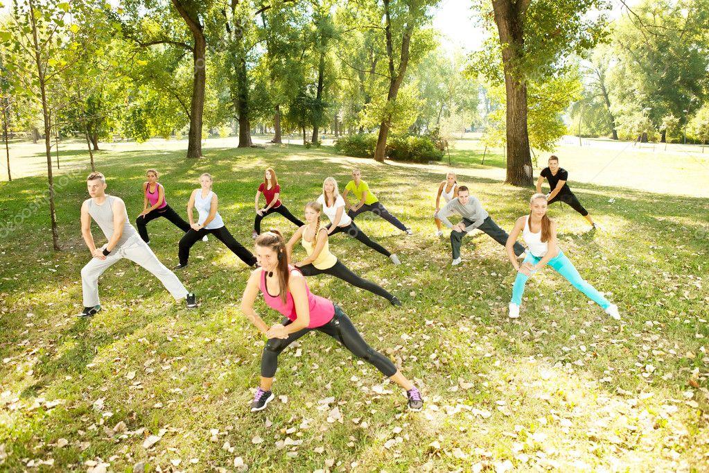 Aerobics class in park