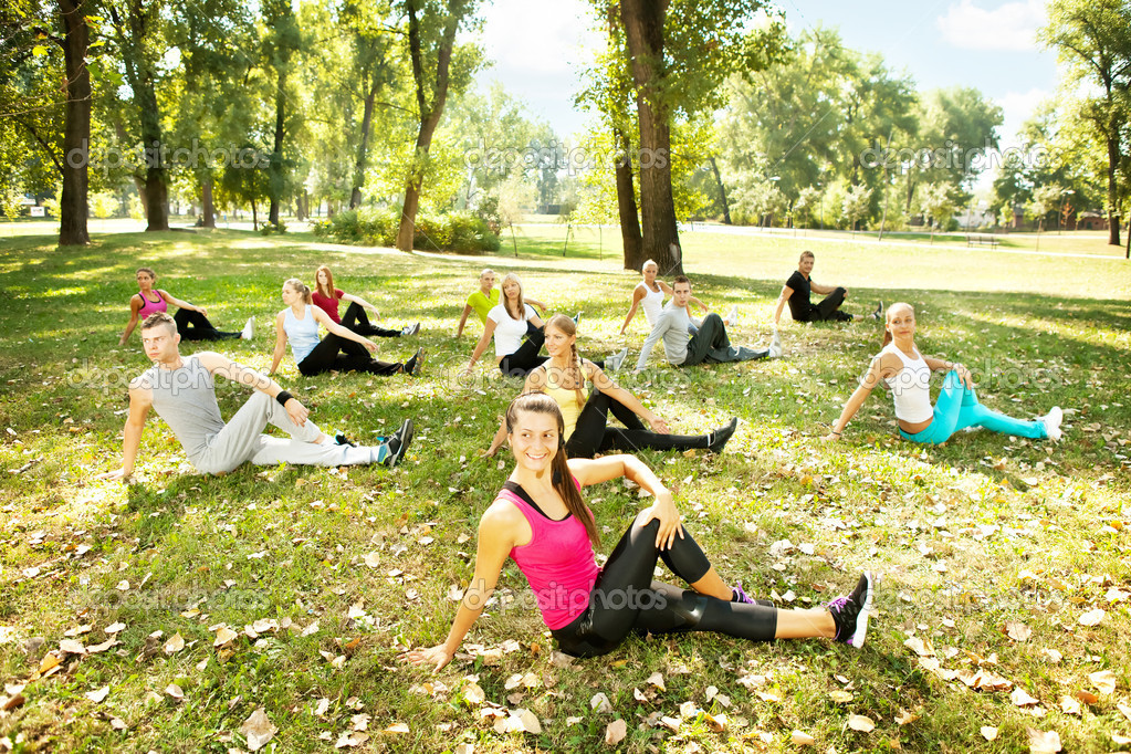 Fitness class, outdoor