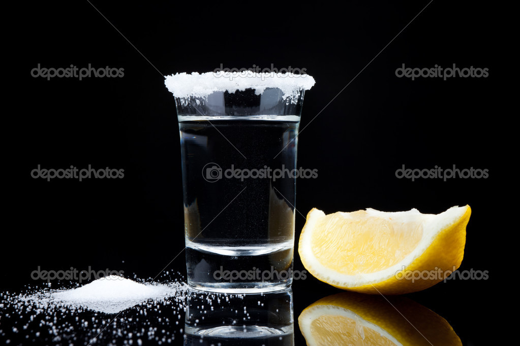 Tequila shot, with lemon and salt