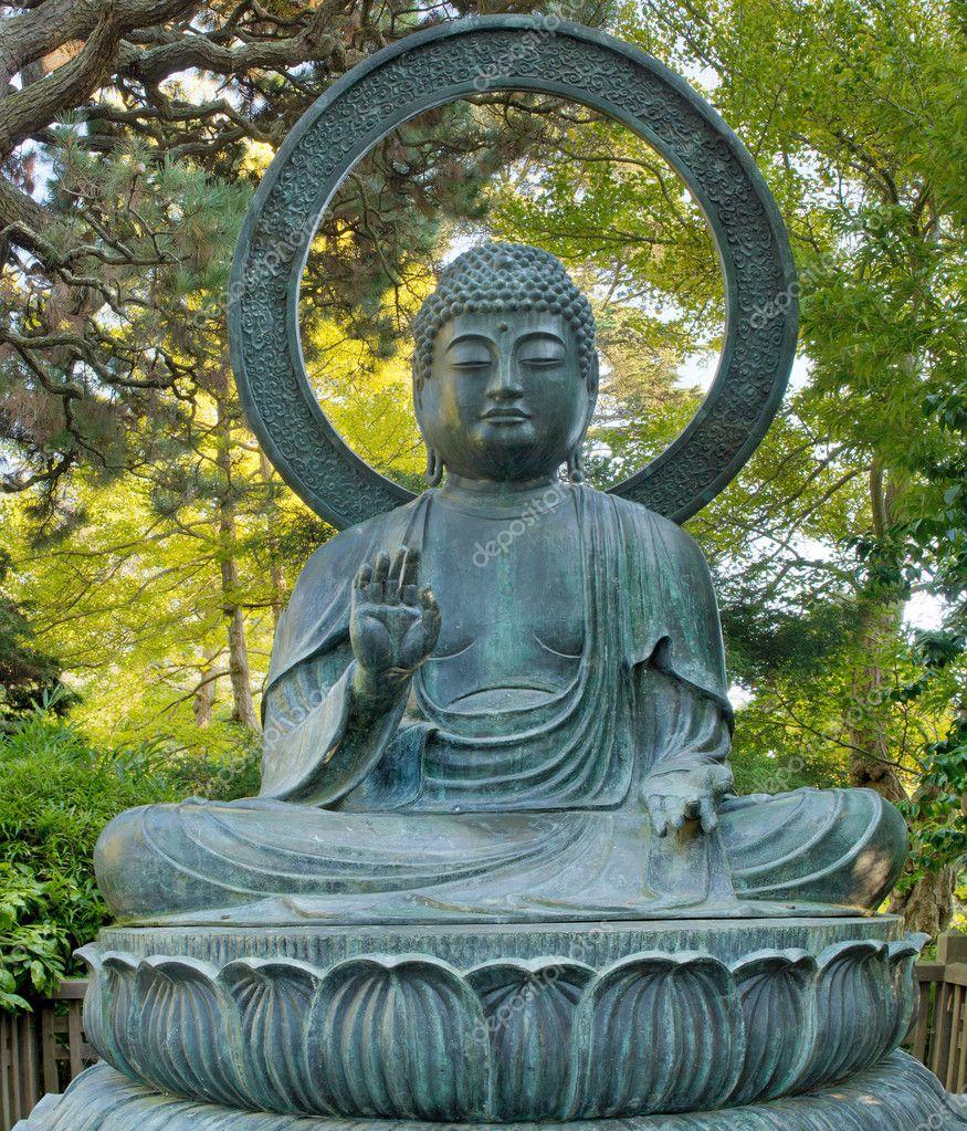 sentado bronce de Buda en el jardn japons de san francisco Fotos