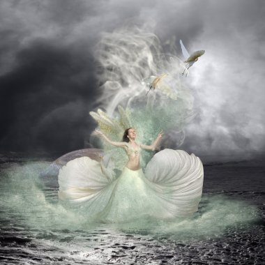 Sea Nymph and Water Birds Fairytale