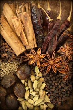 Spices on wood