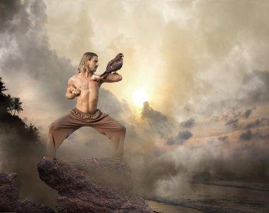 Man Practices Martial Arts With Bird