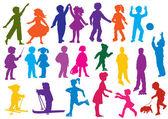 Fotografia Set of drawn colored silhouettes of children (kids)