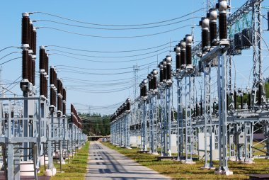 A row of cutouts filled with high voltage gas
