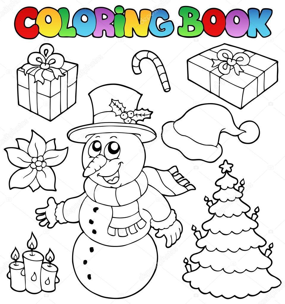 tema de Navidad de libro 2 para colorear — Vector de stock © clairev ...