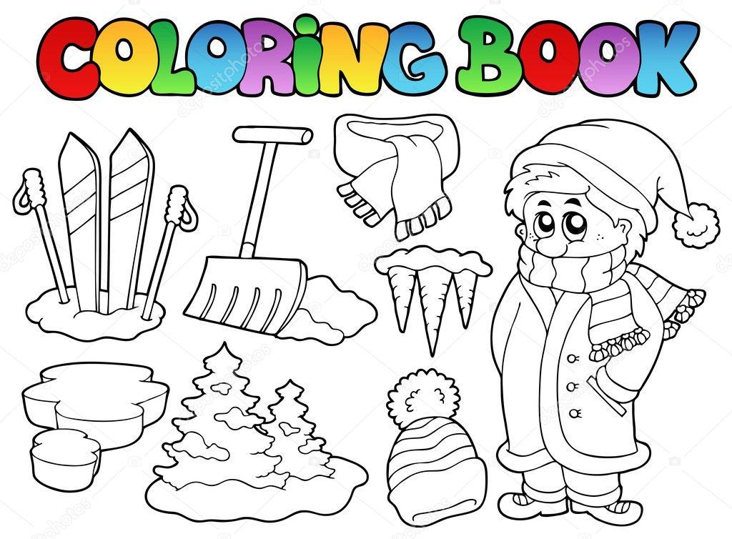 tema invierno libro 3 para colorear — Archivo Imágenes Vectoriales ...