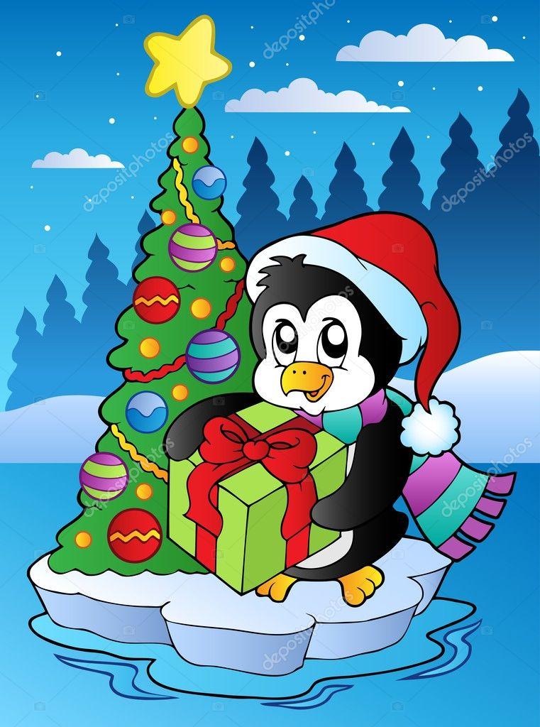 Weihnachten-Szene mit Pinguin — Stockvektor © clairev #7213677