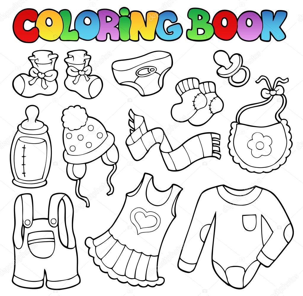 ropa del bebé de libro para colorear — Archivo Imágenes Vectoriales ...