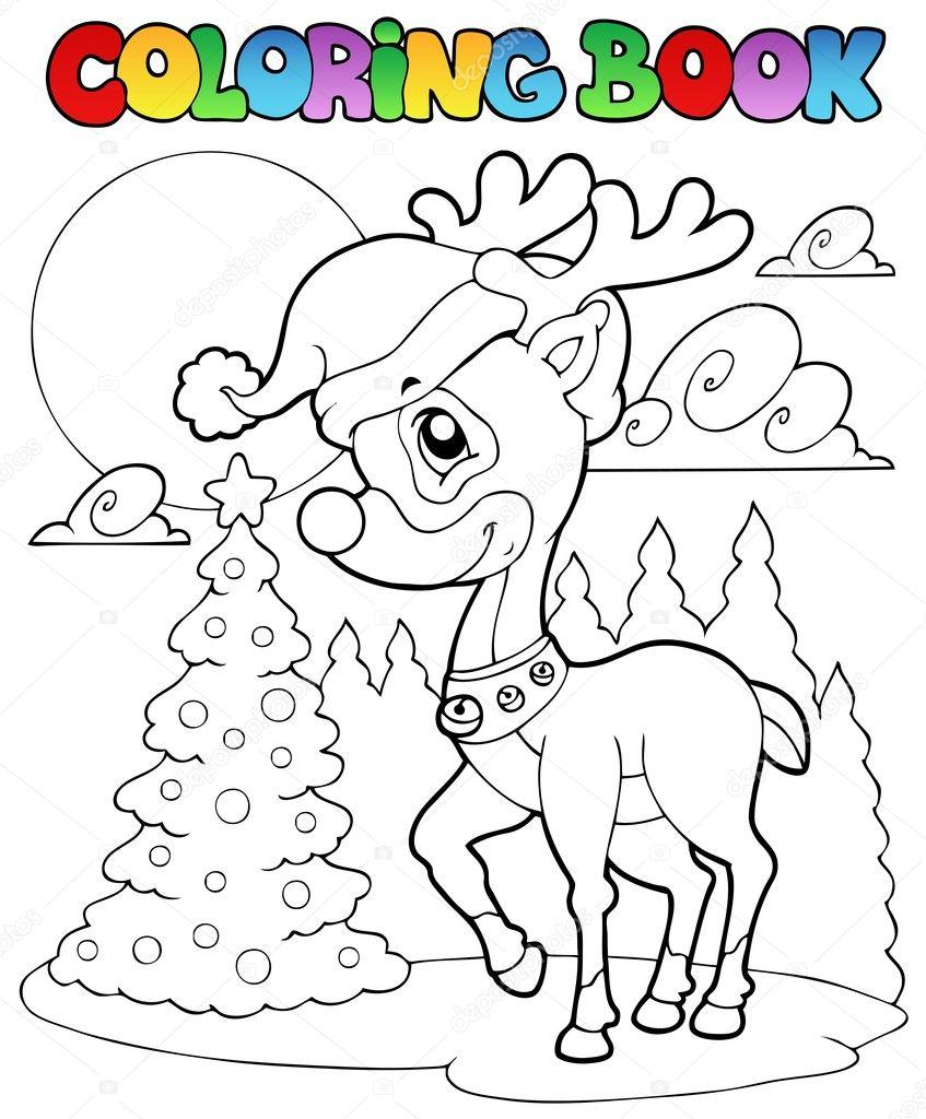 ciervos de la Navidad de libro para colorear 1 — Archivo Imágenes ...
