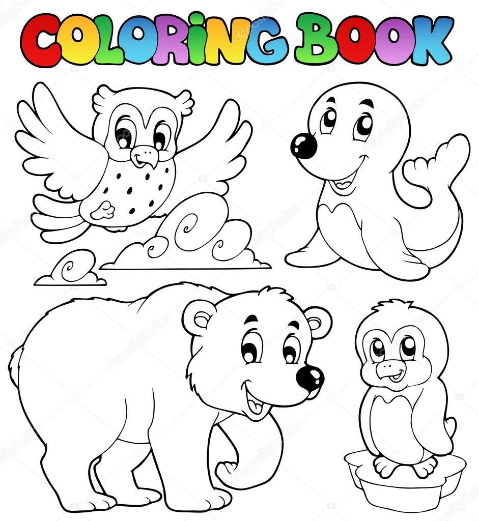 animales de invierno feliz libro para colorear — Archivo Imágenes ...