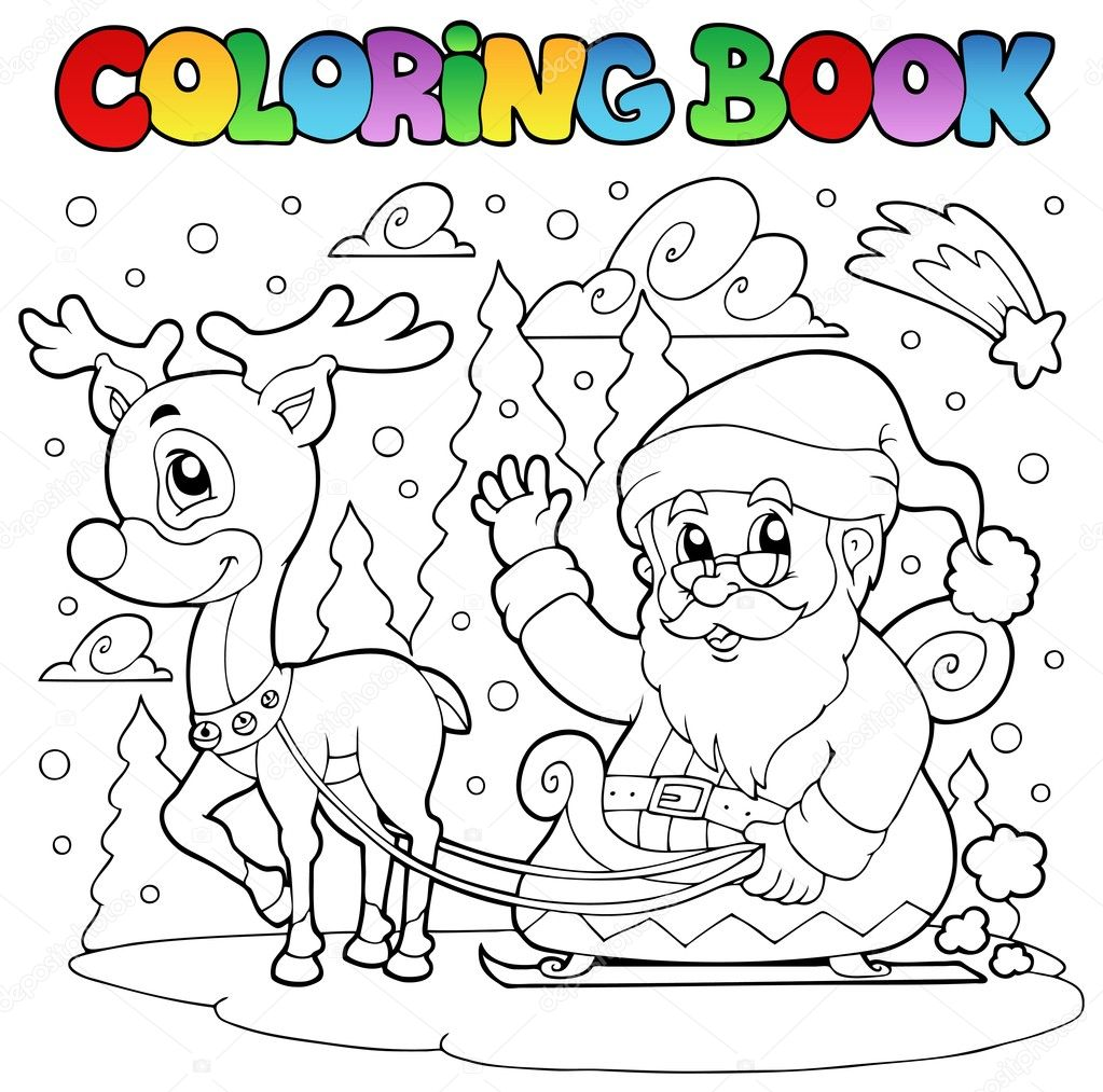 Coloring Book Santa Claus Theme 4 Stock Vector C Clairev 7213857