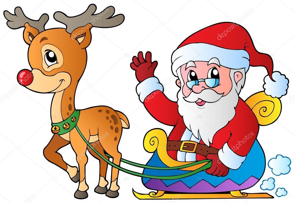 Papá Noel con trineo y ciervos — Vector de stock © clairev