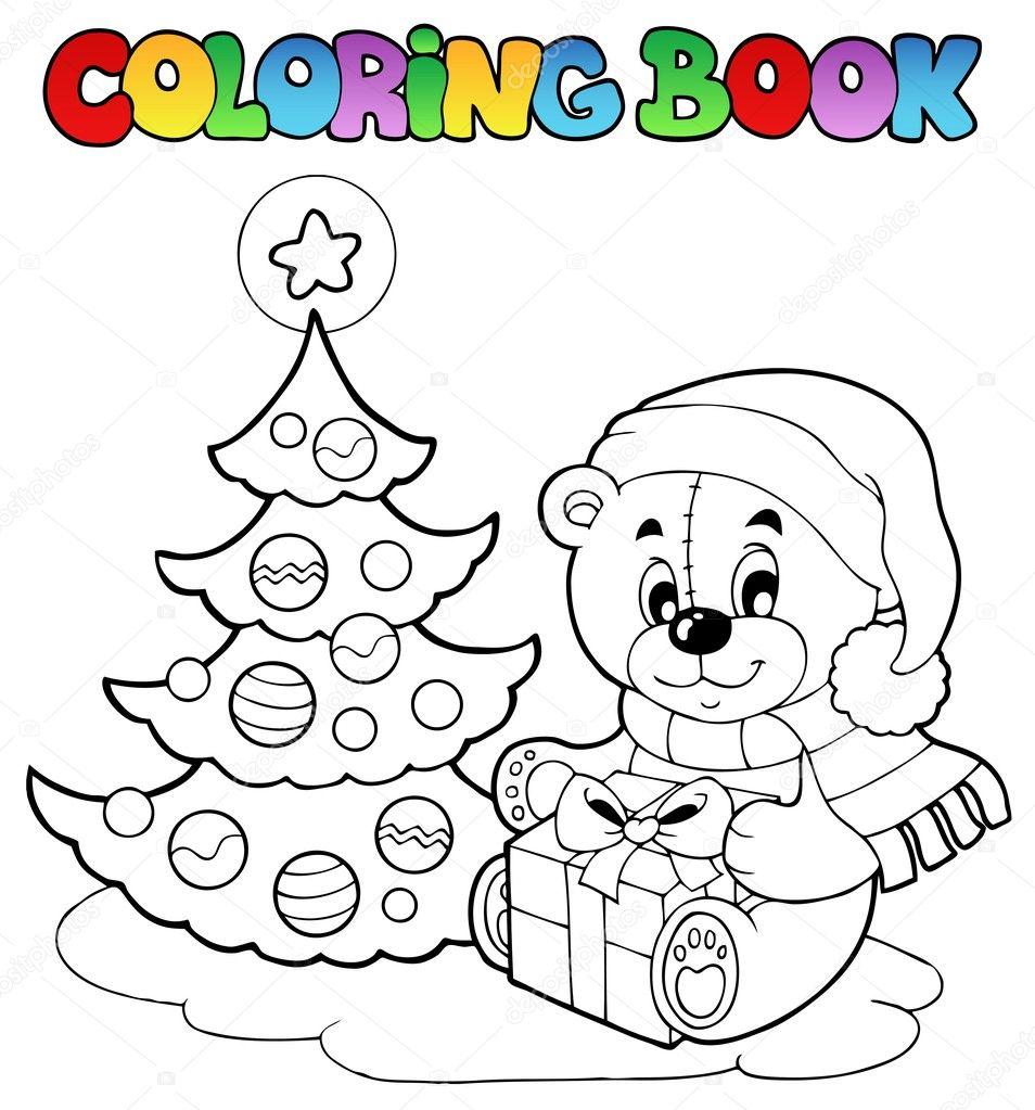 Boyama Kitabı Noel Oyuncak Ayı Stok Vektör Clairev 7444223