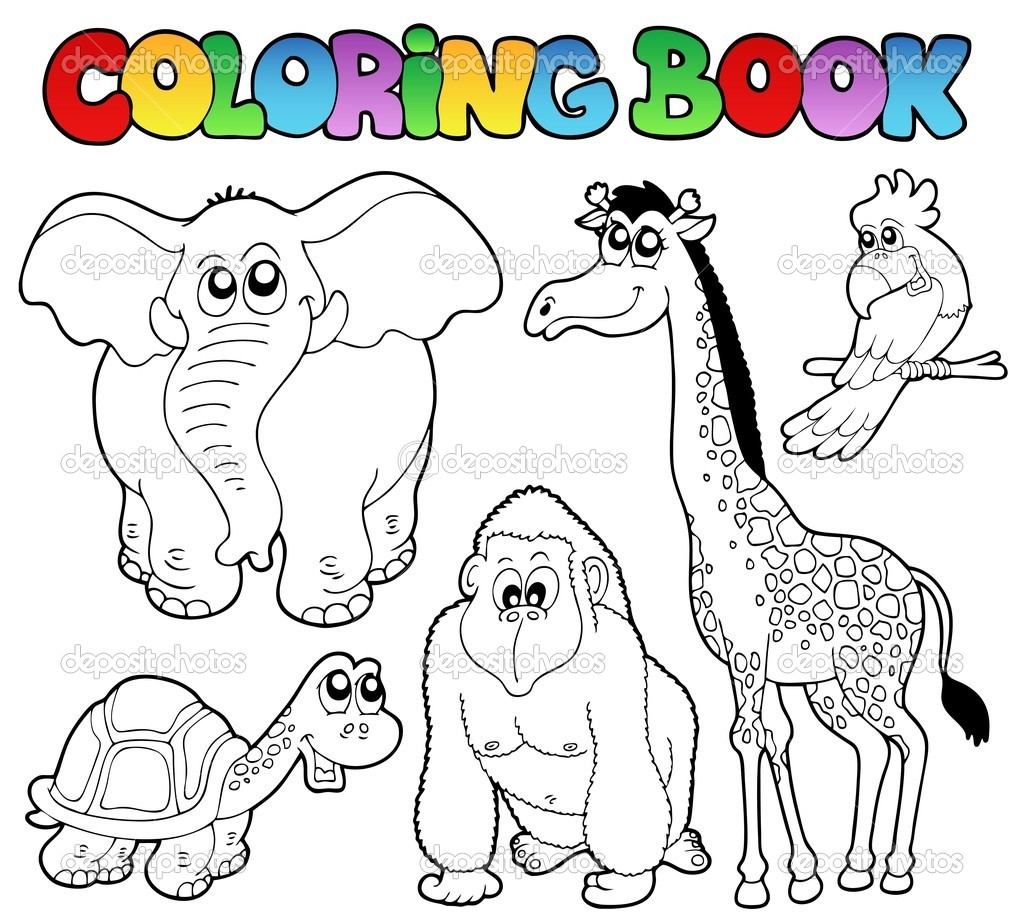 coloring book tropical animals 2 vector illustration vector by clairev - Coloring Book Animals