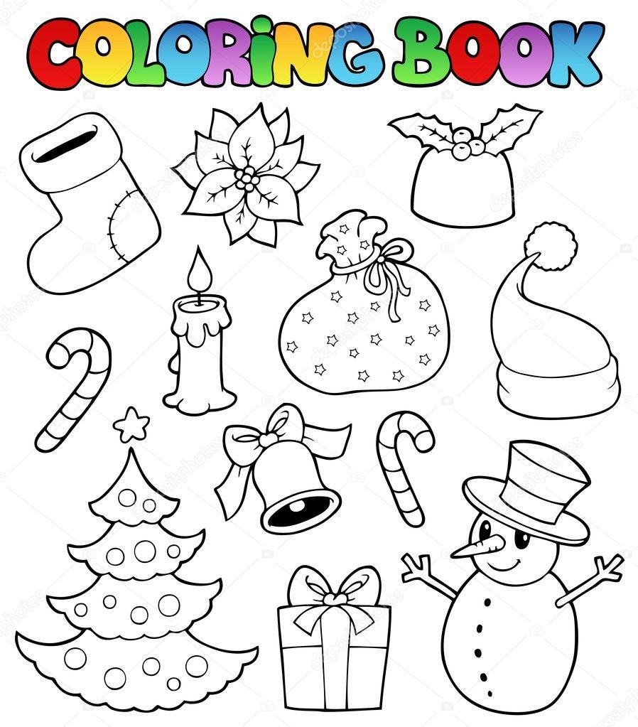 colorear imágenes de Navidad libro 1 — Vector de stock © clairev ...