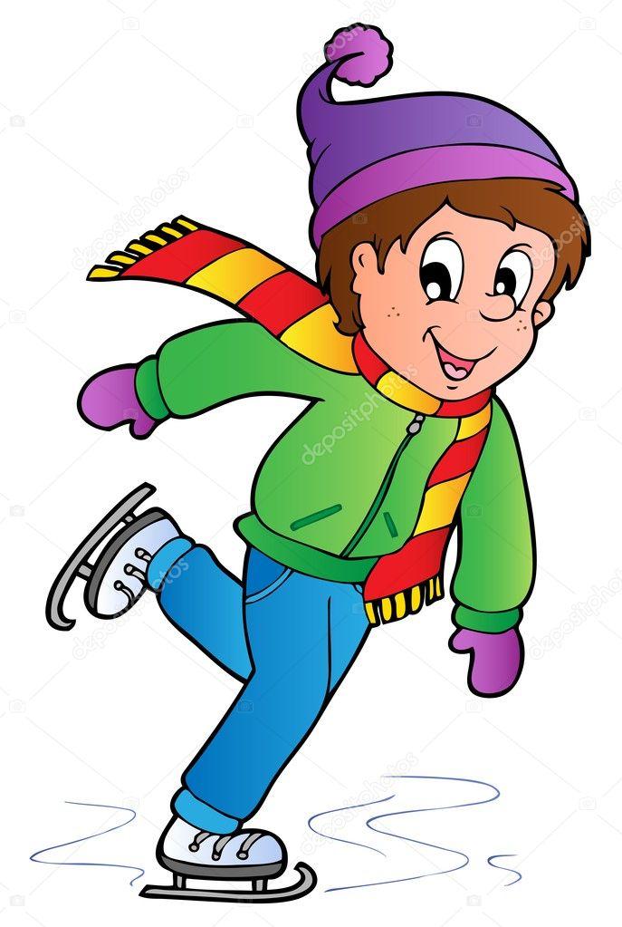 Картинка мальчик на коньках для детей
