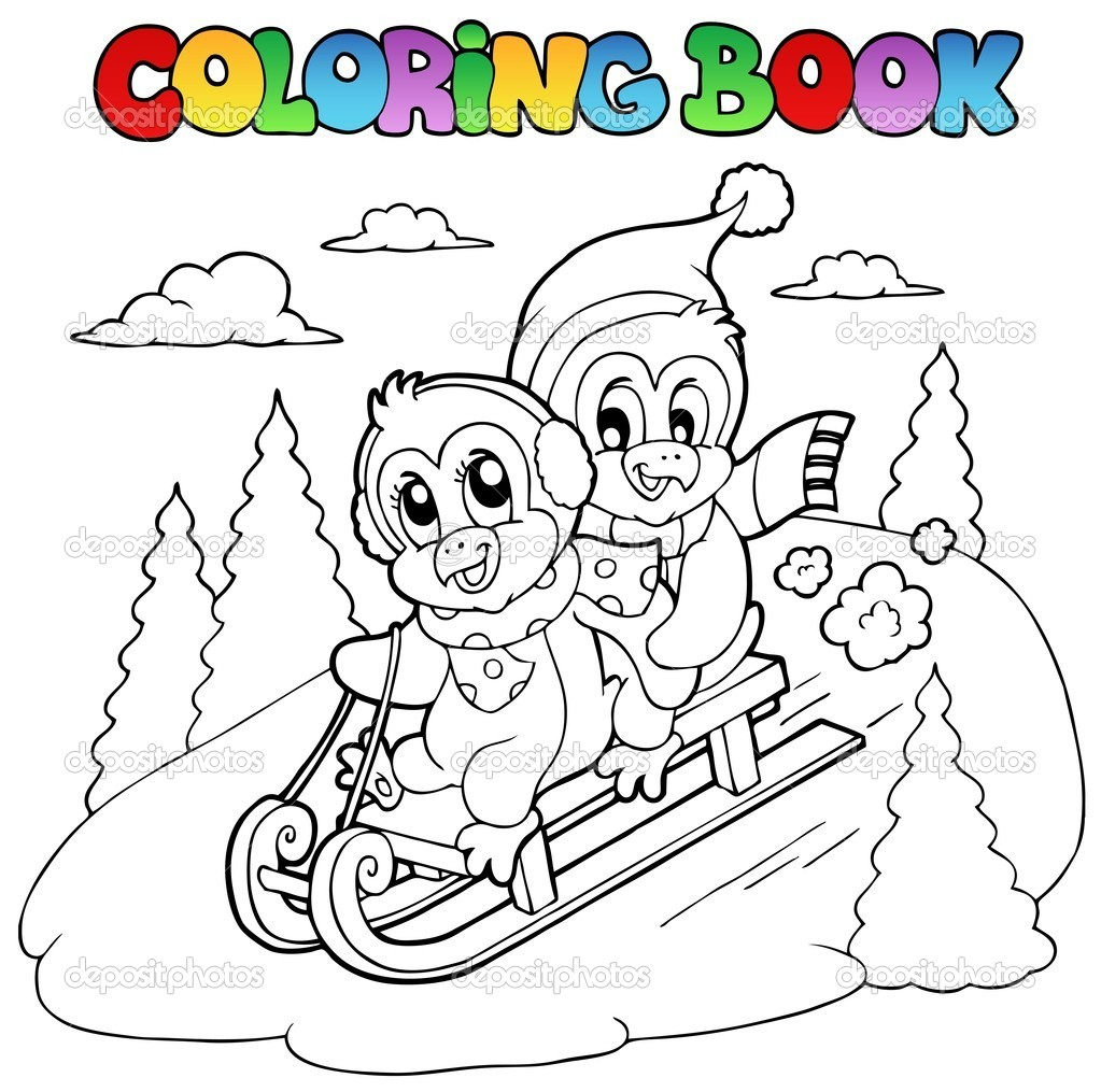coloring book penguins sledging u2014 stock vector clairev 7788630