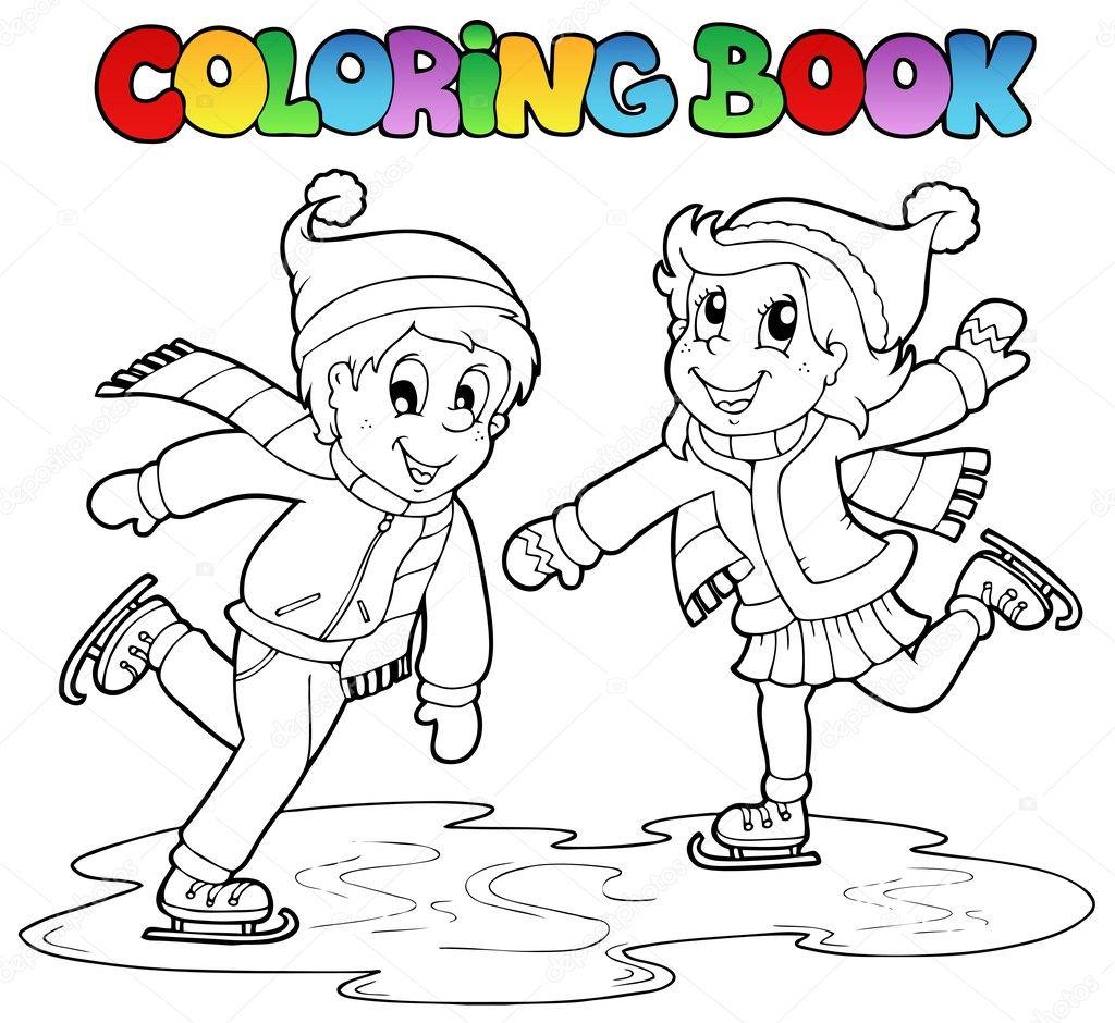 Erkek Ve Kız Paten Boyama Kitabı Stok Vektör Clairev 7788664