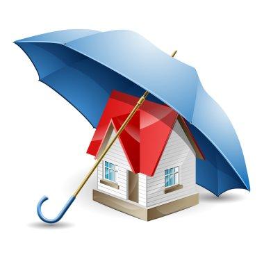 The house under a blue umbrella
