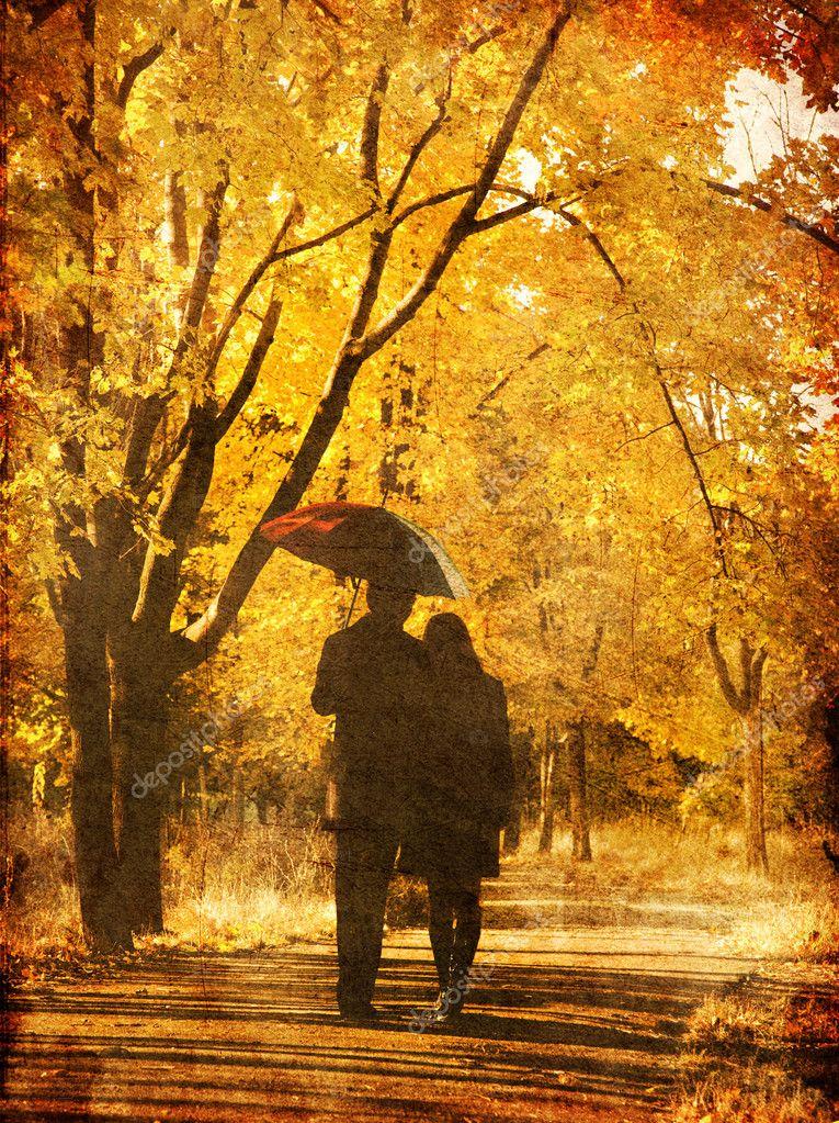 Пара, ходьба на аллее в осень парке. — Стоковое фото ...