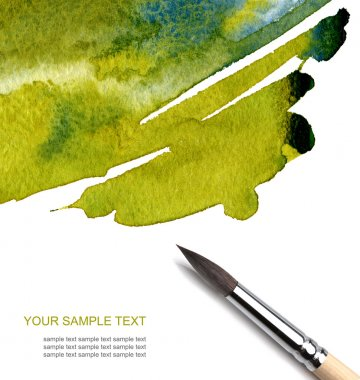 Abstract watercolor painted background with brush