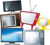 Különböző típusú egy halom televízión